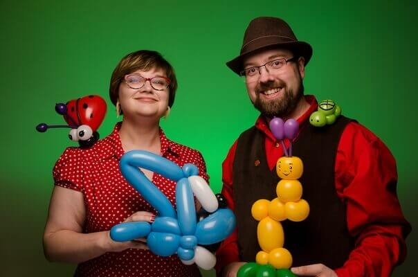 Wayne and Kali with some balloon sculptures.