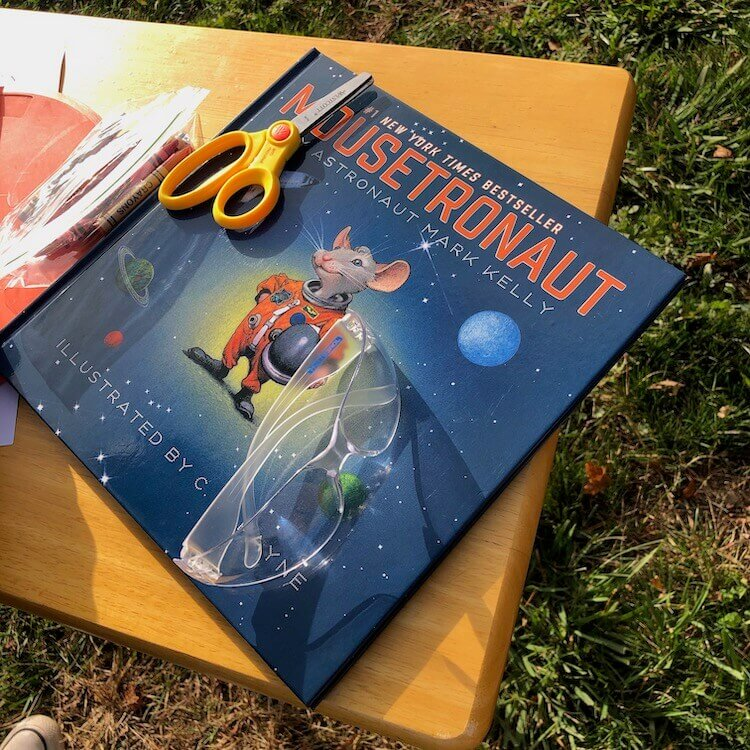 Space book with rocket building tools