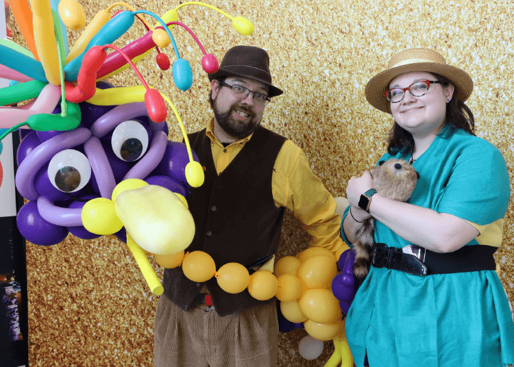 Wayne and Kali with their balloon bird, Leo, at the Children's Museum of New Hampshire in Dover, NH.